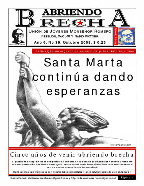 Cover of the 39th edition of the Salvadoran youth made magazine Abriendo Brecha